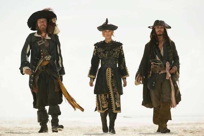 Geoffrey Rush, Keira Knightley, Johhny Depp