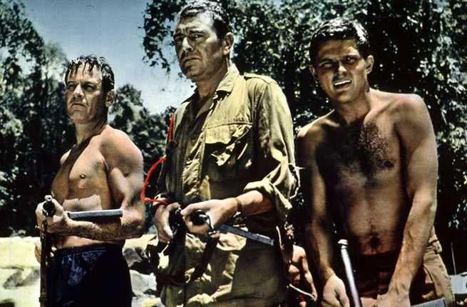 William Holden, Jack Hawkins in una scena